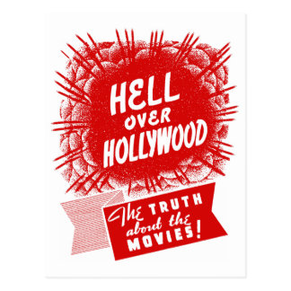 Carte Postale Enfer vintage de kitsch au-dessus de Hollywood