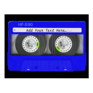 Carte Postale Enregistreur à cassettes au néon bleu
