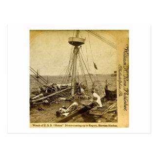 Carte Postale Épave de l'U.S.S. Maine, monter de plongeurs