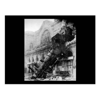 Carte Postale Épave de train chez Montparnasse, catastrophe de