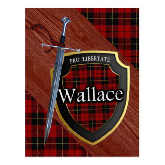 Carte Postale Épée et bouclier de tartan de Wallace de clan
