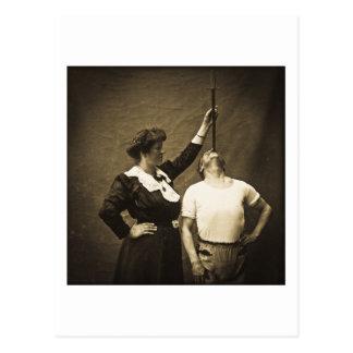 Carte Postale Épée Swallower et phénomènes vintages de numéro de
