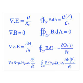 Carte Postale équation de physique de maxwell