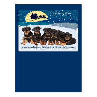 Carte Postale Équipe de Sleigh de Noël de rottweiler