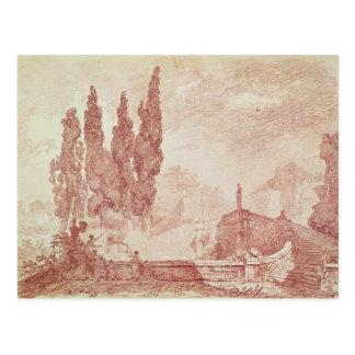 Carte Postale Escalier dans les jardins du d'Est de villa