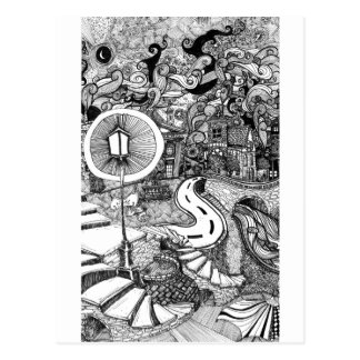 Carte Postale Escaliers sous l'illustration à l'encre de lumière