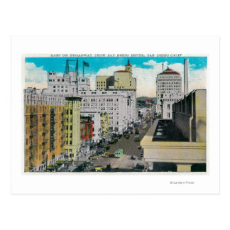 Carte Postale Est sur Broadway d'hôtel de San Diego