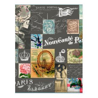 Carte postale et collage vintages français de