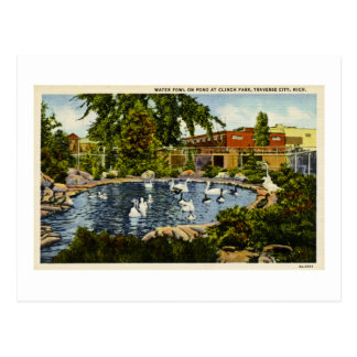 Carte Postale Étang à la ville de traversée de parc de repli,