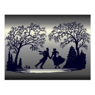 Carte Postale Étang de patinage de glace - silhouette