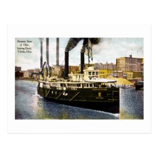 Carte Postale État de vapeur de l'Ohio quittant le dock, Toledo,