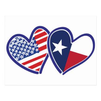 Carte Postale Etats-Unis-Texas-Drapeau-Coeur