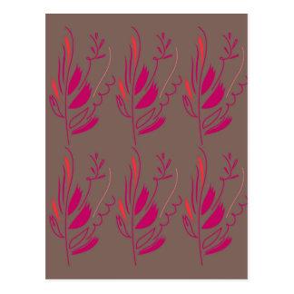 Carte Postale Ethno rouge-rose d'éléments de conception