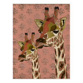 Carte postale étincelante de girafes de Rosa
