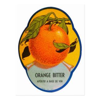 Carte Postale Étiquette amer orange de rétro boisson alcoolisée