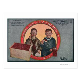 Carte Postale Étiquette de canneberge de marque de Boston