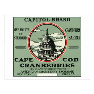 Carte Postale Étiquette de canneberge de marque de capitol de