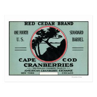 Carte Postale Étiquette de canneberge de marque de cèdre rouge