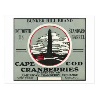 Carte Postale Étiquette de canneberge de marque de colline de