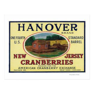 Carte Postale Étiquette de canneberge de marque de Hannovre