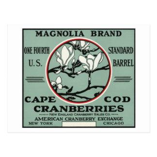 Carte Postale Étiquette de canneberge de marque de magnolia de
