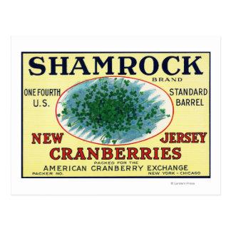 Carte Postale Étiquette de canneberge de marque de shamrock