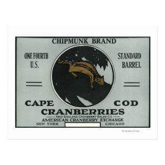 Carte Postale Étiquette de canneberge de marque de tamia de Cape