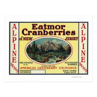 Carte Postale Étiquette de marque alpin de canneberges d'Eatmor