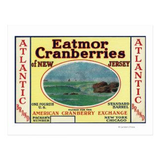 Carte Postale Étiquette de marque atlantique de canneberges