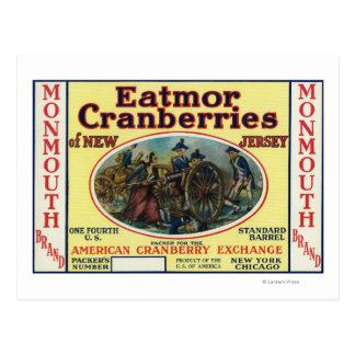 Carte Postale Étiquette de marque de canneberges de Monmouth