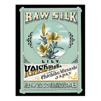 Carte Postale Étiquette en soie brut japonais de fleur de lis