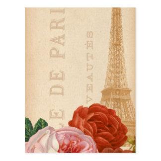 Carte Postale Étiquette florale vintage de paquet de Paris