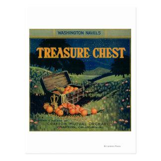 Carte Postale Étiquette orange de coffre au trésor (version de