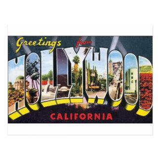 Carte Postale Étiquette vintage de bagage de voyage de HOLLYWOOD