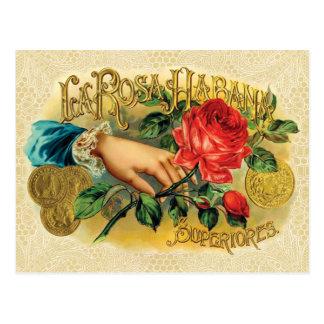 Carte Postale Étiquette vintage de cigare de Rosa Habana