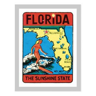Carte Postale Étiquette vintage d'état de la Floride FL de