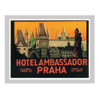 Carte Postale Étiquette vintage d'hôtel de République Tchèque de