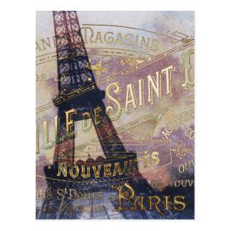 Carte Postale Étiquette vintage et Tour Eiffel de Français