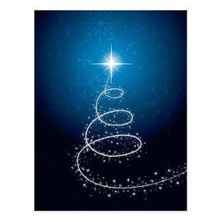 Carte Postale Étoile et flocons de neige de Noël