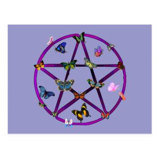 Carte Postale Étoile et papillons de Wiccan