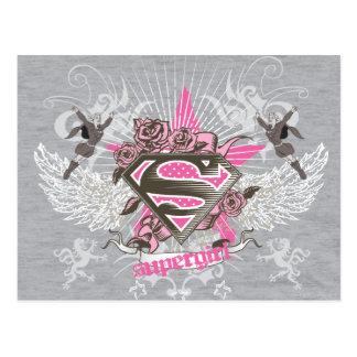 Carte Postale Étoile et roses de Supergirl