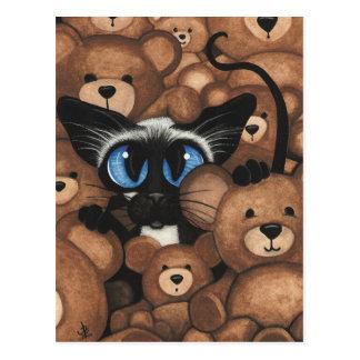 Carte Postale Étreinte d'ours de nounours de chat siamois par