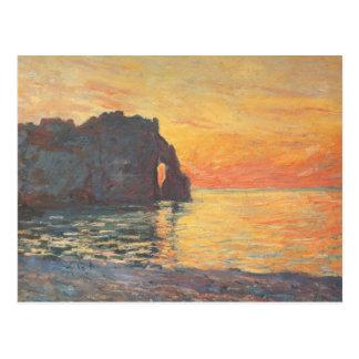 Carte Postale Etretat, falaise de ` Aval, coucher du soleil -