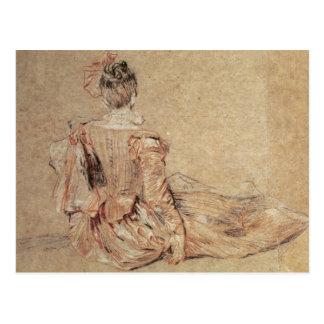 Carte Postale Étude d'une femme vue du dos, 1716-18