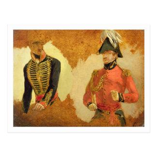Carte Postale Études d'uniforme royal d'artillerie de cheval, et
