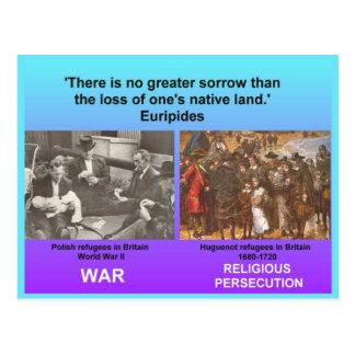 Carte Postale Études sociales, réfugiés