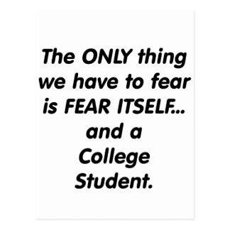 Carte Postale étudiant universitaire de crainte