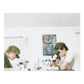 Carte Postale Étudiants avec des microscopes