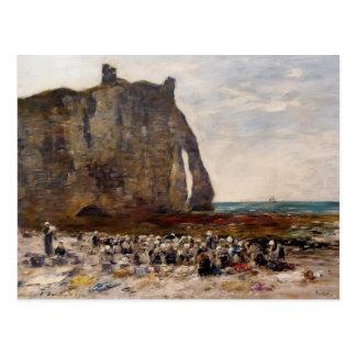 Carte Postale Eugene Boudin- les blanchisseuses d'Etretat