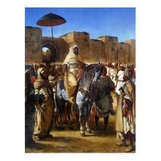 Carte Postale Eugene Delacroix- le sultan de partir du Maroc